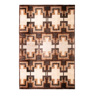 Contemporary Art Deco Style Rug - Beige Brown Geometric Pattern by Rug & Kilim For Sale