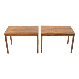 1960s Mid-Century Modern Bruksbo Haug Snekkeri Rosewood Side Tables - a Pair