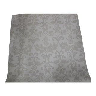 """Schumacher """"Beau Damasse"""" Grasscloth Damask Wallpaper in Ivory Color - Set of 3"""