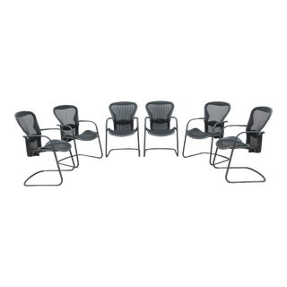Modern Herman Miller Ergonomic Aeron Side Guest Chairs Size B- Set of 6 For Sale