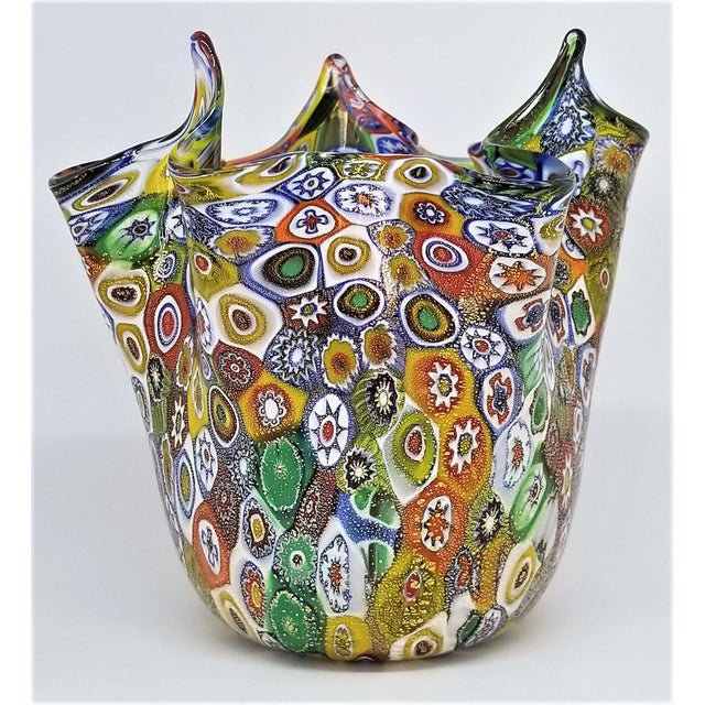 Murano Vintage Murano Glass Hankerchief Vase - Millifiori and Gold by Campanella- Signed - Italy Italian Palm Beach Boho Chic Mid Century Modern For Sale - Image 4 of 13