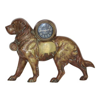 Cast Brass Lux St. Bernard Clock For Sale