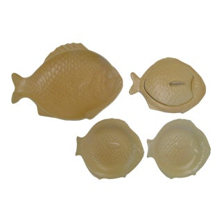 English Earthenware Fish Serving Plates - Set of 4 For Sale