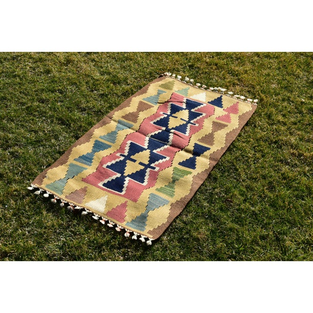 Nomadic Ethnic Tribal Design Anatolian Oushak Traditional Wool Handmade Turkish Kilim Rug 2x4 ft. Size: 2.1 x 3.7 ft (65 x...