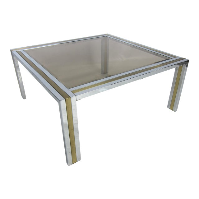 Chrome and Brass Coffee Table attributed to Romeo Rega For Sale