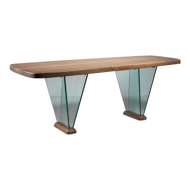 Robert Sentou Desk with Glass Legs For Sale