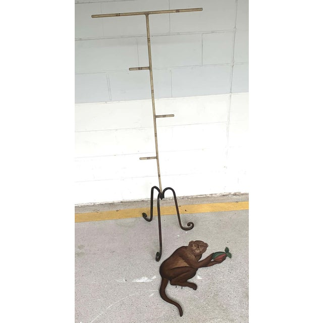 Tole Monkey With Pomegranate Towel Rack For Sale - Image 10 of 11