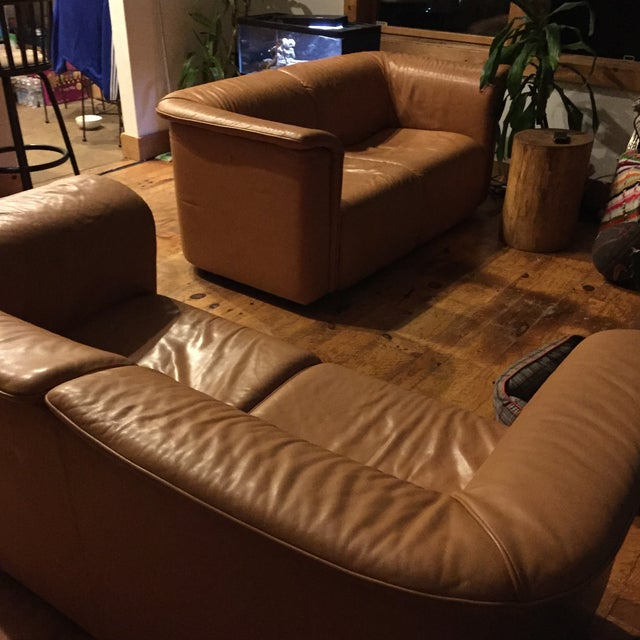 Karl Wittmann 1970s Brown Leather Sofas - A Pair - Image 4 of 5