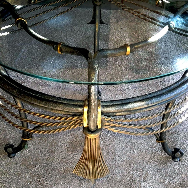 1990s Neoclassical Gilded Iron Rope and Tassel Fer Forgé Side Table For Sale In Palm Springs - Image 6 of 8