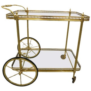 Maison Jansen Style Bar Cart in Polished Brass For Sale