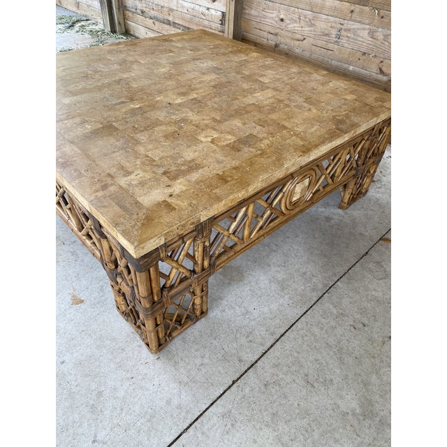 Wood Chinese Chippendale Fretwork Rattan Coffee Table For Sale - Image 7 of 13