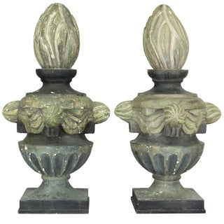 Pair of French Zinc Architectural Finials For Sale