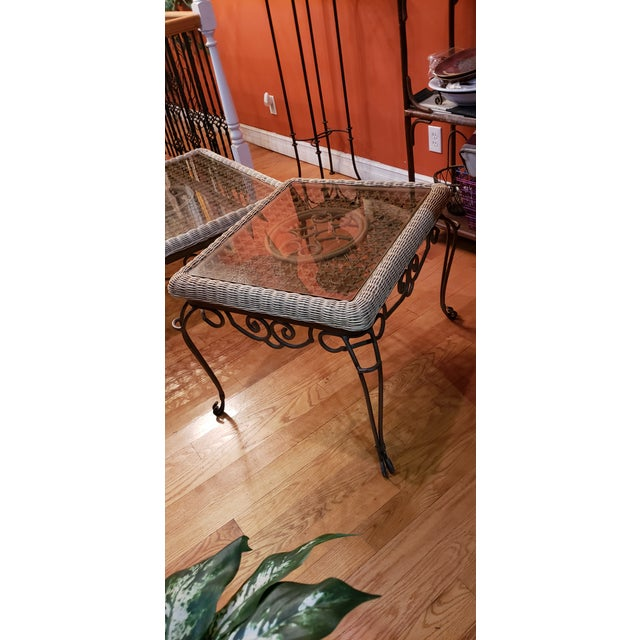 Shabby Chic Wrought Iron Table Set With Wicker Inlays and Smoked Glass Tops - a Pair For Sale - Image 10 of 13