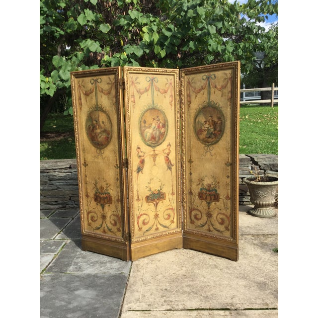 19th Century Vintage Oil Painting French 3-Panel Room Divider For Sale - Image 6 of 6