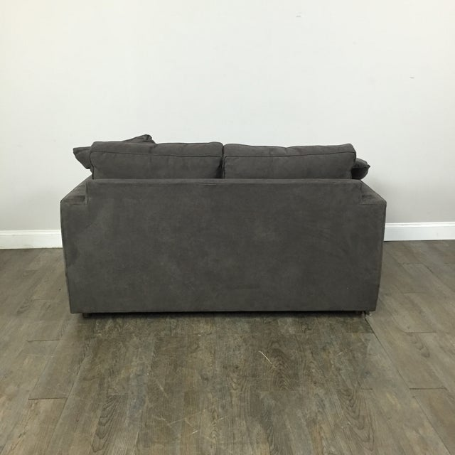 Room & Board Charcoal Suede Loveseat - Image 9 of 11