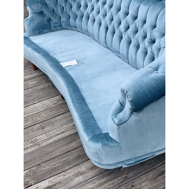 Metal Mid Century Modern Sky Tufted Blue Chesterfield For Sale - Image 7 of 13