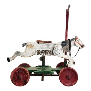 Antique Wooden Horse Pull Toy With Original Worn Paint For Sale