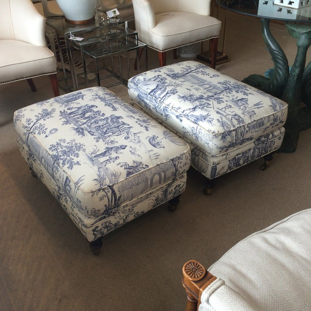 Brunschwig and Fils Toile Ottomans - Pair - Image 2 of 5