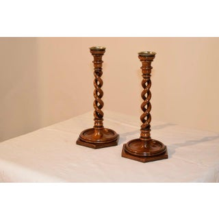 Pair of 19th Century Walnut Open Twist Candlesticks Preview