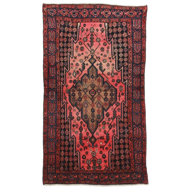 Vintage Persian Hamedan Wool Rug - 3′10″ × 6′10″ - Image 1 of 2