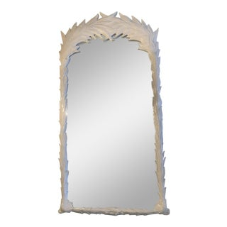 Vintage Hollywood Regency White Lacquered Palm Tree Leaf Wall Mirror Pair Available For Sale