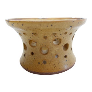 Mid-Century Ceramic Perforated Candle Holder