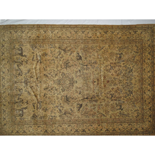 Very fine silk and wool pile hand woven Persian Qum with tree of life design carpet. Mint condition.