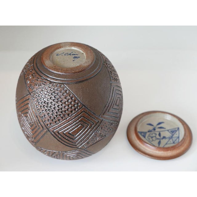 Clay 1980s J Chin Incised Pottery Jar For Sale - Image 7 of 8