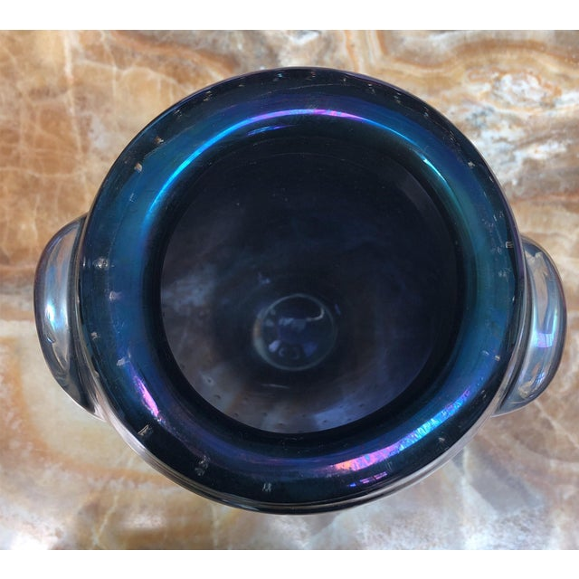 Iridescent Murano Glass Vase With Embedded Bubbles For Sale - Image 4 of 6
