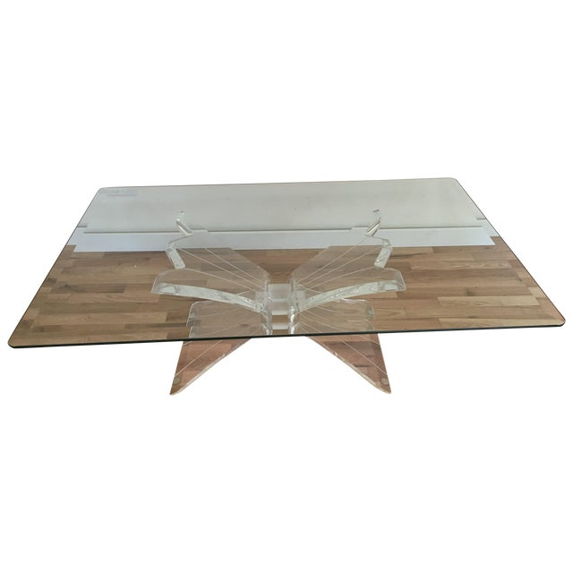 Glass Lucite Butterfly Base Coffee Table - Image 1 of 5