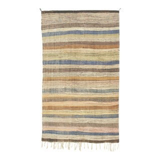 """Mid 20th Century Moroccan Rag Rug - 4'6"""" X 8'1"""" For Sale"""