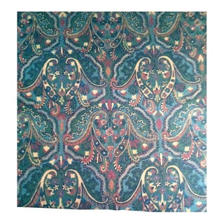 Crewel Embroidered Wool Fabric - 1.5 Yards For Sale