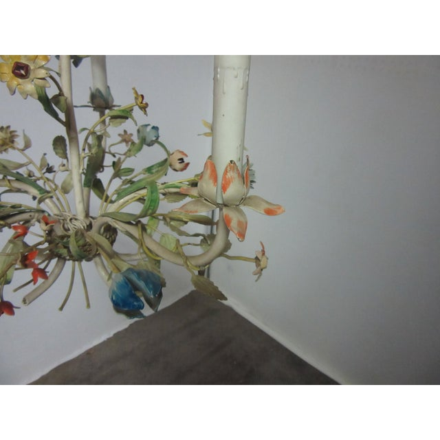 Italian 1950s Italian Tole Chandelier With Multi-Color Flowers For Sale - Image 3 of 7