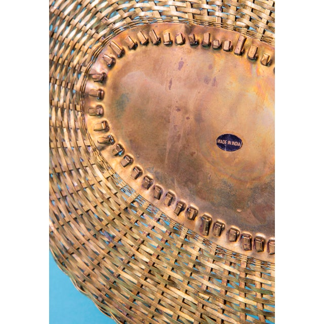 Brass 1960's Mid-Century Hand Woven Solid Brass Basket For Sale - Image 8 of 9