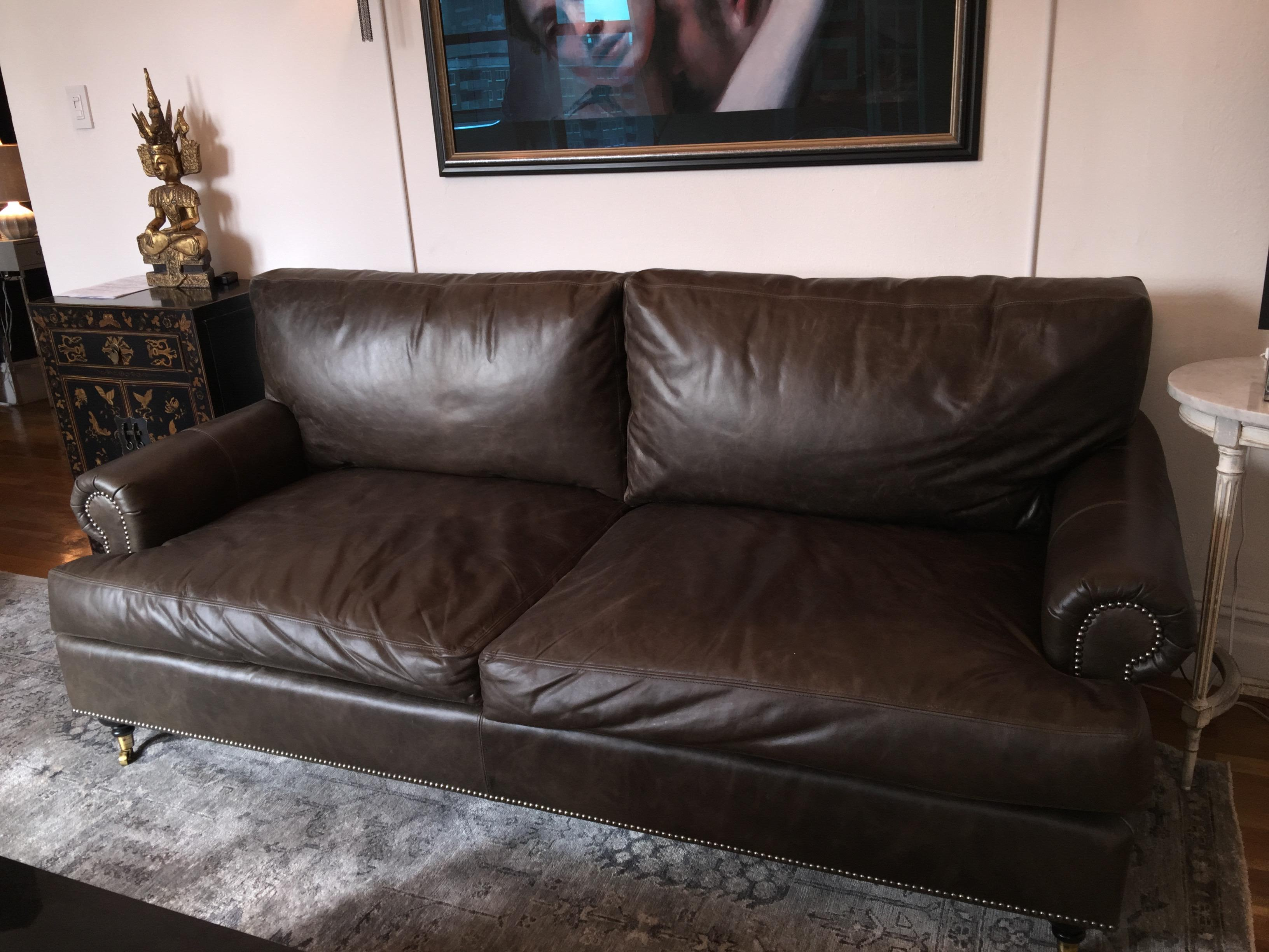 Charmant Brown Custom Leather Sofa By Of Iron And Oak For Sale   Image 8 Of 11