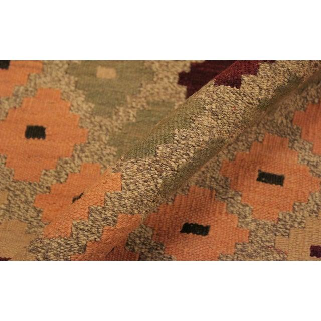 Asian Raymon Gray/Black Hand-Woven Kilim Wool Rug -5'4 X 6'8 For Sale - Image 3 of 8
