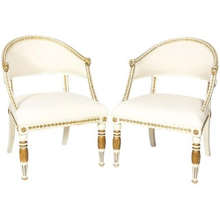 Pair of Gustavian-Style Armchairs For Sale
