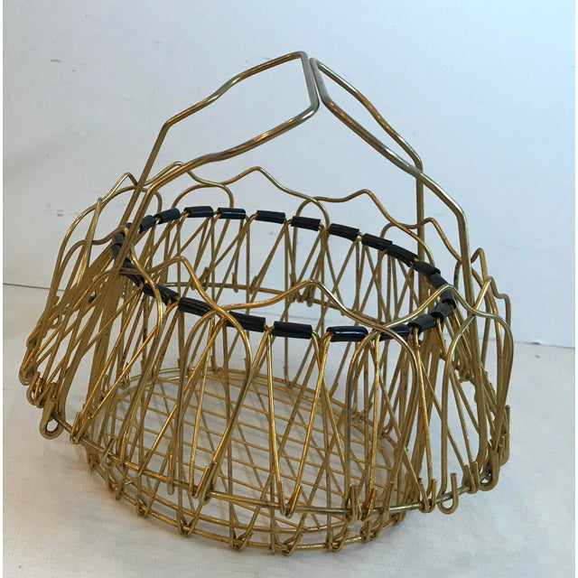 Mid Century Folding Wire Basket For Sale - Image 4 of 10