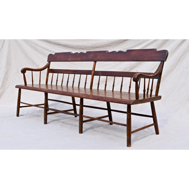 Early American Pennsylvania Plank Half Spindle Bench For Sale - Image 3 of 12
