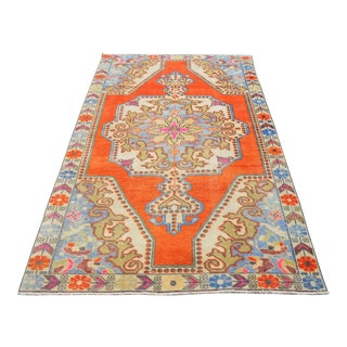 Distressed Area Rug Hand Knotted Colorful Oushak Medallion Rug - 4'4'' X 7'3'' For Sale