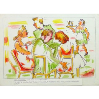 Irmgard Von Reppert, Ink & Pencil Drawing - a Engrossing Evening For Sale