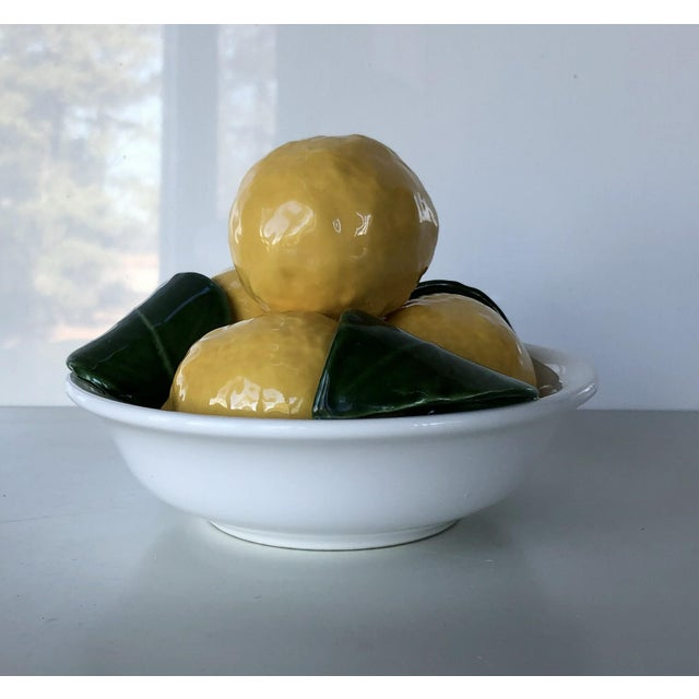 Vintage Trompe l'Oeil Bertinazzo Italy Ceramic Bowl of Lemons With Leaves For Sale - Image 12 of 12