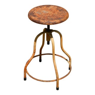 Vintage Industrial Factory Stool For Sale