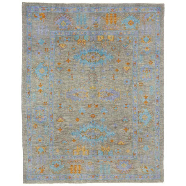 Contemporary Turkish Oushak Rug with Modern Style and Bright Colors For Sale - Image 4 of 4