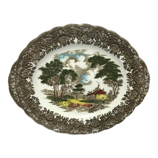 "Mid 20th Century English Staffordshire ""Country Style"" Serving Dish For Sale"
