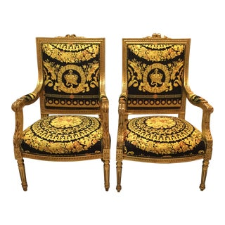 Versace Baroque Crown Velvet Upholstery Louis XVI Antique Chairs- a Pair For Sale