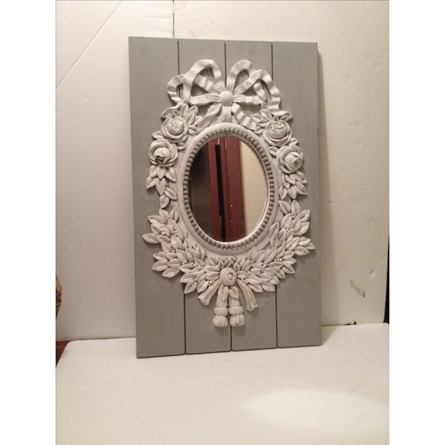 French Style Painted Shabby Chic Mirror For Sale In Houston - Image 6 of 6