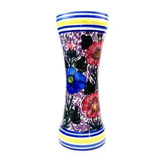Vintage Hand Painted Floral Ceramic Vase For Sale