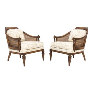 Mid-Century Walnut & Cane Barrel Back Club Chairs With Off-White Upholstery, a Pair For Sale