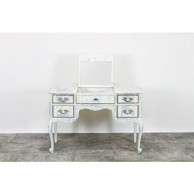 Lovely one of kind shabby chic vanity this lovely vanity was hand painted in two tones, antique white and custom gray and...